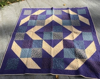 Purple Flannel Quilt, Handmade, MaterialThings2, Purple, Blue, soft gold, floral, stars