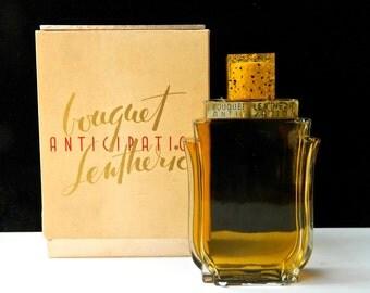 Vintage ANTICIPATION Bouquet Lentheric Perfume Monumental 8 oz Excellent Original Art Deco Bottle Lucite Cap Original Box