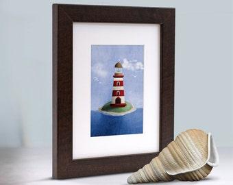 Maritime Nautical Red Lighthouse Wall Art Room Decor Print for Nursey, Big Kid Girl or Boy, Office, Kitchen, Living Room, Bedroom Artwork