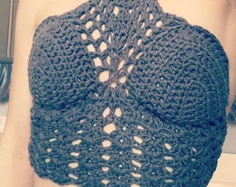 Woman's bikini top/ crop top.  Festival top.  Bohemian. Made in Canada.  Custom Colors & size.  Worldwide shipping. Crochet beach fashions.