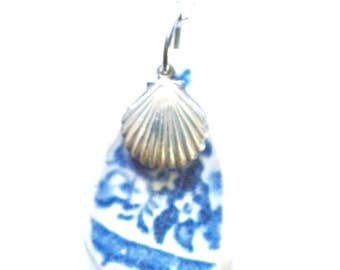 Sea pottery pendant necklace with silver scallop charm, shell necklace, beach pottery jewelry, blue and white pattern