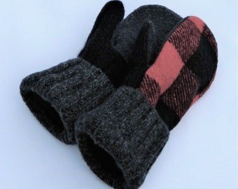 Felted Wool Mittens - Teen/Womens - Red/Black - Wool Mittens - Felted Sweater Mittens
