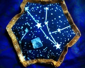 Starseed Mini Pillow- Glow in the Dark Space Constellation Print- Aromatherapy Meditation Crystal Pillow w/ Tektite - GALACTIC Activation