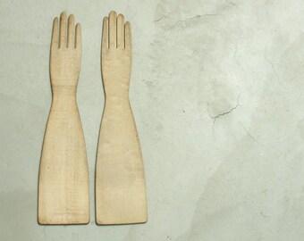 pair antique long wooden victorian glove forms molds stretchers, wisconsin textile mill folk art hands