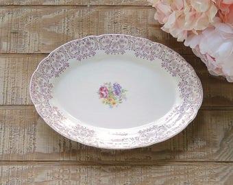 French Saxon China Small Platter Silver Symphony Tea Party, Wedding China, Ceramic Tray
