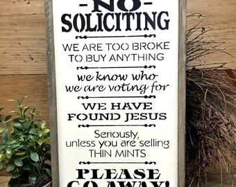 Rustic Framed Sign, No Soliciting, Front Door Decor, Front Door Sign, Housewarming Gift, Go Away Sign, Girl Scout Cookie theme, Welcome Sign