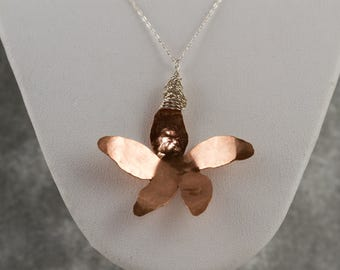 Large plumeria Pendant, bronze metal, sterling silver, sterling chain, women