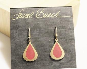 Xmas SALE Vintage Gold Drop Earrings By Laurel Burch, Red Gold Earrings, Gifts Under 35