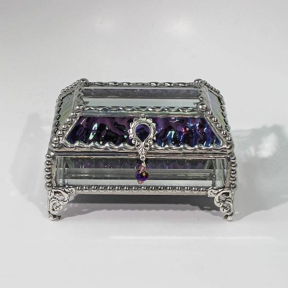 Jewelry Box, Glass Box, Purple, Treasure Box, Trinket Box,