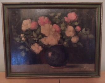 Antique Floral Print CL Biron Clémence Biron Signed Art 1930