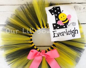 Bee Birthday Shirt- Personalized Birthday Shirt - Personalized Girl - 1st Birthday Outfit - Tutu - Bee - Bumble Bee Birthday Shirt - Pink