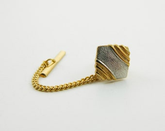 Vintage Gold & Silver Lapel Pin with Chain - 013 - Vintage Tie Tack