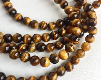 DIY String of 5mm Tiger Eye Round Beads for Crafts (003DIY)