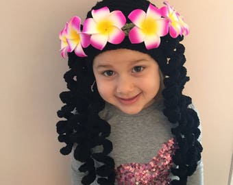 Crocheted Moana Hat, Crochet Moana Wig, Choose your size