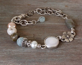 Artisan Boho Gemstone Bracelet With Bezel Set Pearl Labradorite And Agate Sterling Silver Unique Rustic Organic Casual Jewelry Gift For Her