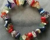 Chakra Stones Stretch Bracelet (Traditional/Rainbow) w/ Coral
