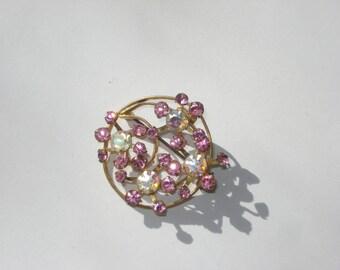 Vintage Triad Rhinestone Brooch - Vintage Costume Jewelry Pin - Retro Silver Snowflake 1960s