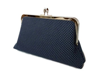 Navy blue polka dot wedding purse/Something blue/ Bridesmaids gift purse/Gift for her/ Beach wedding clutch/ Bridal accessory bag