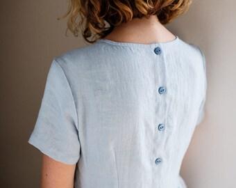 Sky Blue Linen Dress - Short Sleeved Dress - Loose Dress - Summer Linen Dress - High Waist Dress - Handmade by OFFON