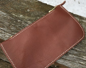 Small Leather Zippered Pouch Handmade Genuine Top Grade Leather