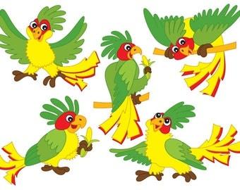 50% OFF SALE Parrots Clipart - Digital Vector Parrot, Tropical, Bird, Cartoon, Parrots Clip Art