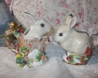 Fitz and Floyd Classics Rabbits Sugar Bowl and Creamer, Vintage Dishes, Rabbits, Bunnies, Creamer and Sugar bowl,  :)s