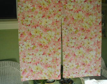 Vintage Pillowslips, King Bed Size, Pair of Pillowslips, Floral Print,Pink and Yellow Flowers, Perfect for Mix and Match