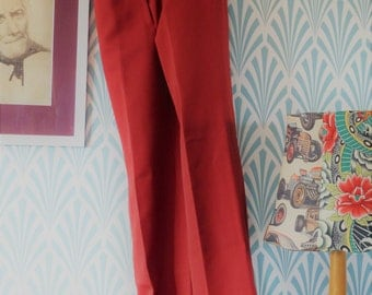 "13. Vintage sligtly flared pants burgundy red (W35-L99cm / W13.8-L39"")"