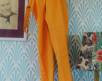 "46. 60s/70s Vylvin Bruxelles pants with belt, soft orange (W39-L94cm / W15.4-L37"")"