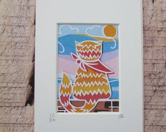ACEO papercut art print ginger cat by seaside