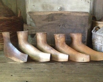 Ancient French Cobblers Wooden Boot Lasts Shepherds Boots Set of 5 French Farmhouse Decor