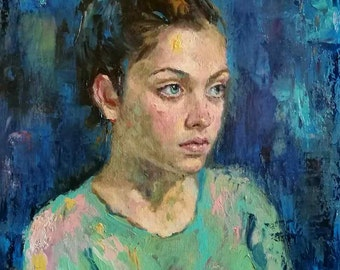 Custom Oil Portrait from your Photo - Hand Painted Oil Portrait on Canvas Custom Oil Painting Child Portrait Family Wedding Portrait