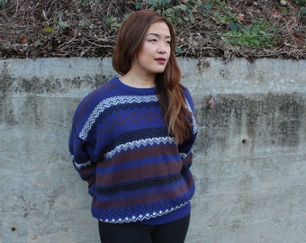 Blue Geometric Print Sweater