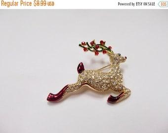 On Sale Vintage Enameled Rhinestone Reindeer Pin Item K # 549