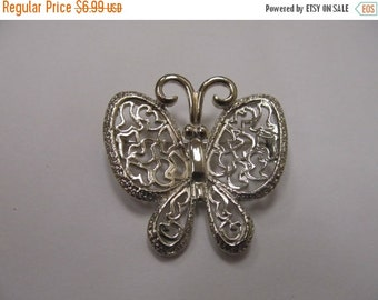 On Sale Vintage Ornate Silver Tone Butterfly Pin Item K # 2101