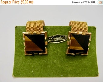 On Sale Midcentury Modern Onyx and Tiger Eye Mesh Cuff Links Item K # 2472