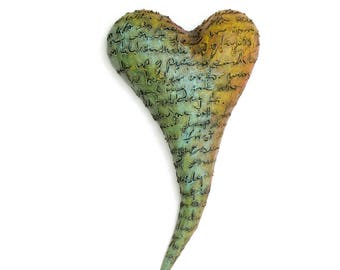 "Heart, ceramic wall art, Jacquline Hurlbert, one of a kind, unique, title: ""Love Letter"""