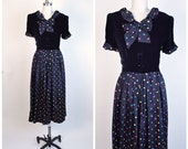 Vintage 1940s 40s Dress Polka Dot Skirt Velvet Bodice