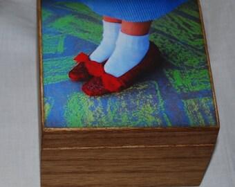 Wooden Photo Box,  Ruby Red slippers, Keepsake Box