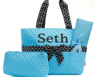 Personalized Diaper bag,  Quilted, Turquoise and brown, 3 piece set