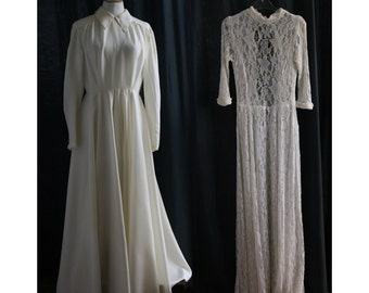 Vintage 1940's 2 long dresses, for recovery of fabric, sewing patterns, fashion student