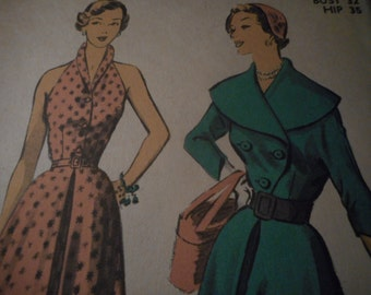 Vintage 1950's Advance 5492 Dress and Jacket Sewing Pattern, Size 14 Bust 32