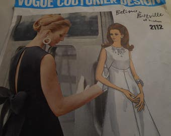 Vintage 1960's Vogue 2112 Couturier Design Belinda Belville Dress Sewing Pattern, Size 12 Bust 34