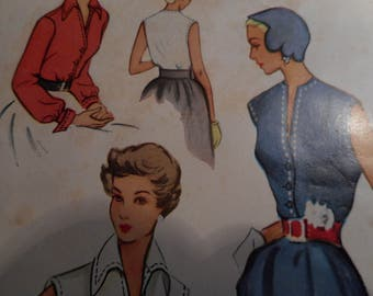 Vintage 1950's McCall 8053 Blouse Sewing Pattern, Size 12 Bust 30