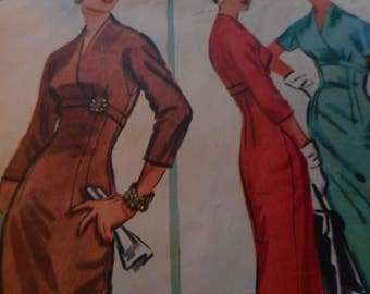 Vintage 1950's McCall's 3966 Dress Sewing Pattern, Size 16 1/2, Bust 37