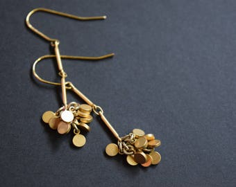 Matte Gold Disk Long Earrings Vintage