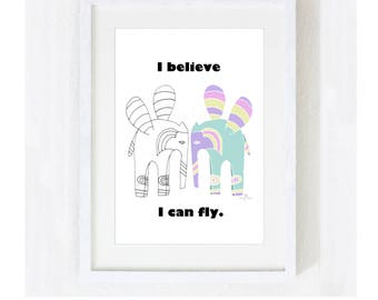 """Inspirational Quote """"I Believe I Can Fly"""" / Motivational Spiritual Encouragement / Yoga Nature Elephants Wings / Print at Home Artwork"""