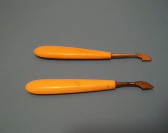 Vintage Pair of Manicure Tools French Ivory