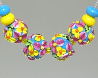 Handmade Lampwork Springtime colorful Yellow and Pink Flowers Florals Beads, Turquoise and Yellow glass spacers.