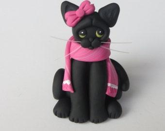 Black Cat Christmas Ornament Figurine Polymer Clay Sculpture